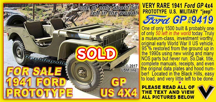 1941 Ford GP, WW2 jeep for sale in the Black Hills of South Dakota USA