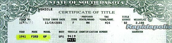 South Dakota Vehicle Certificate of Title